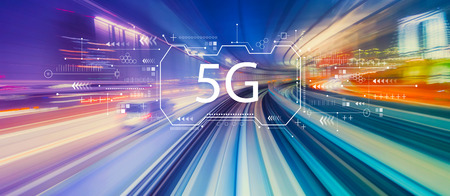 Foto de 5G network with abstract high speed technology POV motion blur - Imagen libre de derechos
