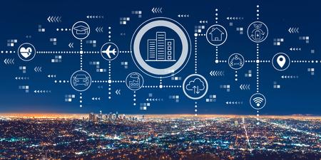 Photo pour Smart city concept with downtown Los Angeles at night - image libre de droit