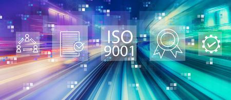 Foto de ISO 9001 with abstract high speed technology POV motion blur - Imagen libre de derechos