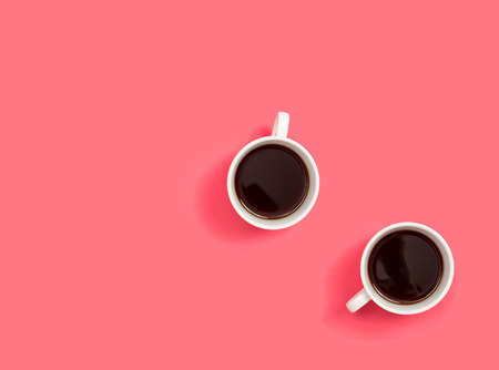 Photo for Two coffee cup overhead view flat lay - Royalty Free Image