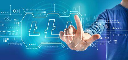 Foto de Litecoin with a man on a blue background - Imagen libre de derechos
