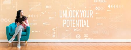 Foto de Unlock your potential with young woman holding a tablet computer in a chair - Imagen libre de derechos
