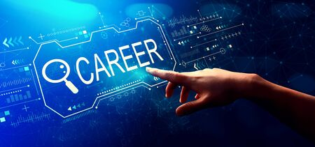 Photo pour Searching career theme with hand pressing a button on a technology screen - image libre de droit