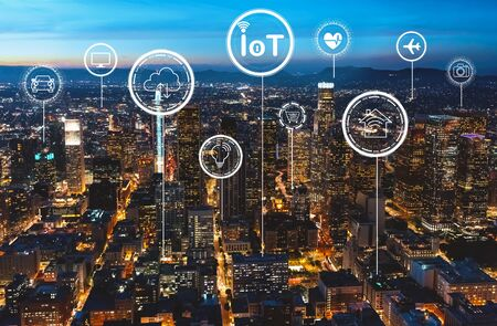 Foto de IoT theme with downtown Los Angeles at night - Imagen libre de derechos