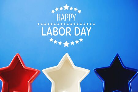 Photo pour Labor day message with red white and blue star decorations - image libre de droit