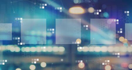 Foto de Digital square boxes with blurred city abstract lights background - Imagen libre de derechos