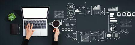 Foto de Marketing concept with person using a laptop computer - Imagen libre de derechos