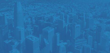 Foto de Downtown San Francisco aerial view of skyscrapers with modern duotone gradient - Imagen libre de derechos