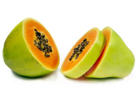Photo for Papaya fruit sliced through the middle isolated on a white background. - Royalty Free Image