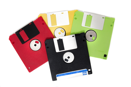 Photo pour colorful computer floppy disks on a composition isolated on a white background. - image libre de droit