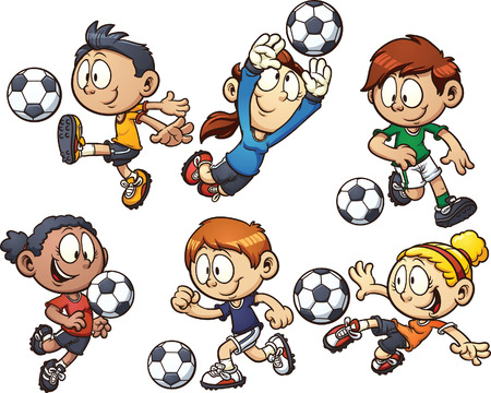 Cartoon kids playing soccer
