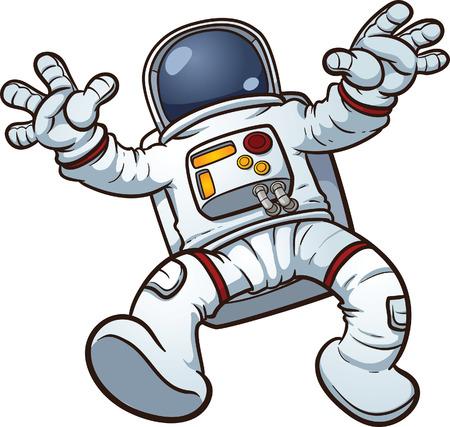 Illustration pour Astronaut clip art  Vector cartoon illustration with simple gradients  All in a single layer   - image libre de droit