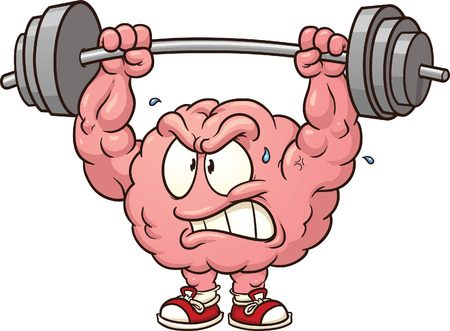 Illustration pour Strong weightlifting brain clip art  Vector cartoon illustration with simple gradients  All in a single layer  - image libre de droit