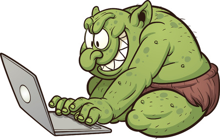 Illustration pour Fat internet troll using a laptop  Vector clip art illustration with simple gradients  All in a single layer   - image libre de droit