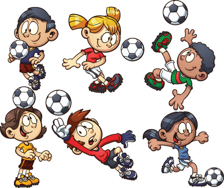 Cartoon soccer kids  Vector clip art illustration with simple gradients  Each on a separate layer