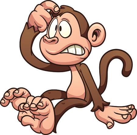 Confused cartoon monkey  Vector clip art illustration with simple gradients  All in a single layer