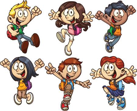 Illustration pour Cartoon school kids  clip art illustration with simple gradients  Each on a separate layer  - image libre de droit