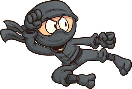 Illustrazione per Ninja flying kick. clip art illustration with simple gradients. All in a single layer. - Immagini Royalty Free