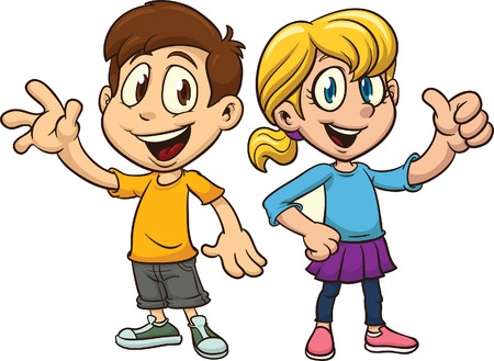 Illustrazione per Cartoon boy and girl waving. Vector clip art illustration with simple gradients. Each on a separate layer. - Immagini Royalty Free