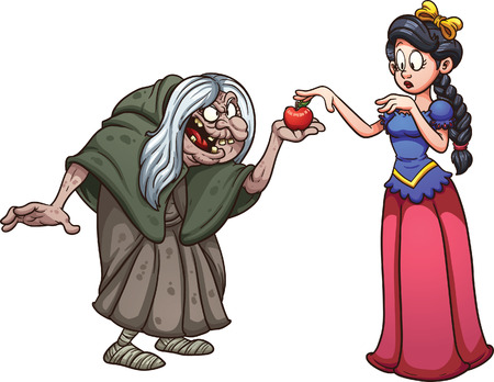 Illustration pour Snow white getting an apple from an old witch. Vector clip art illustration with simple gradients. Each on a separate layer. - image libre de droit