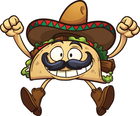 Illustration for Happy cartoon taco with Mexican sombrero. Vector clip art illustration with simple gradients. All in a single layer. - Royalty Free Image
