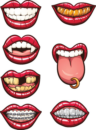 Illustrazione per Cartoon mouths. Vector clip art illustration with simple gradients. Each on a separate layer. - Immagini Royalty Free