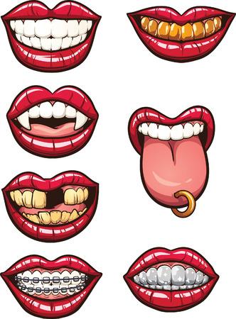 Illustration pour Cartoon mouths. Vector clip art illustration with simple gradients. Each on a separate layer. - image libre de droit
