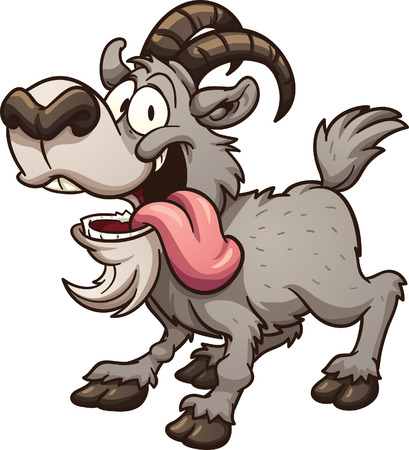 Illustration for Crazy cartoon goat. Vector clip art illustration with simple gradients. All in a single layer. - Royalty Free Image