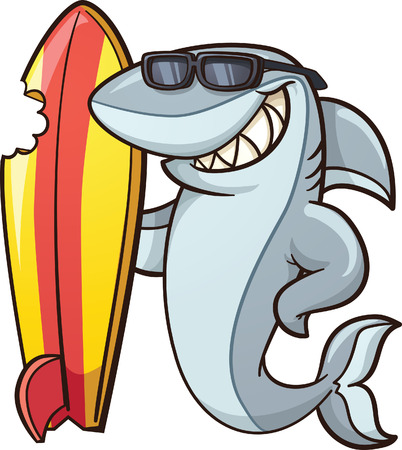 Ilustración de Cartoon shark with a bitten surfboard. Vector clip art illustration with simple gradients. All in a single layer. - Imagen libre de derechos