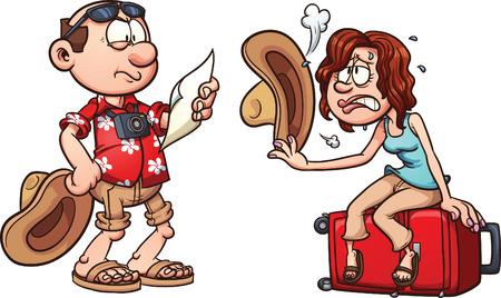 Ilustración de Lost tourist couple. Vector clip art illustration with simple gradients. Each element on a separate layer. - Imagen libre de derechos