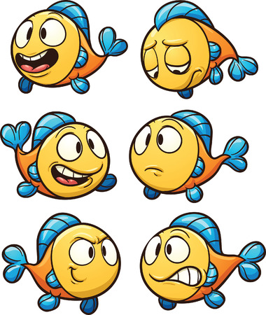 Illustrazione per Little cartoon fish. Vector clip art illustration with simple gradients. Each on a separate layer. - Immagini Royalty Free
