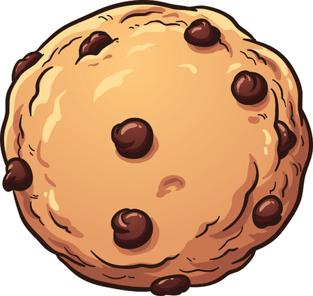 Illustrazione per Chocolate chip cookie. Vector clip art illustration with simple gradients. All in a single layer. - Immagini Royalty Free