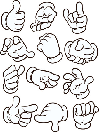 Foto de Cartoon hands making different gestures. Vector clip art illustration with simple gradients. Each on a separate layer - Imagen libre de derechos