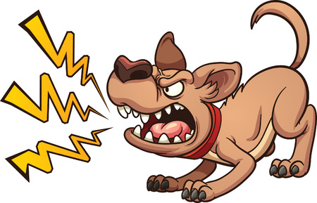 Illustration pour Cartoon barking dog. Vector clip art illustration with simple gradients. Dog and bark on separate layers - image libre de droit