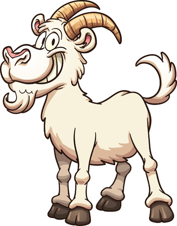 Happy cartoon goat. Vector clip art illustration with simple gradients. All in a single layer.