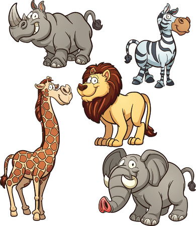 Illustration pour Cartoon African animals. Vector clip art illustration with simple gradients. Each on a separate layer. - image libre de droit
