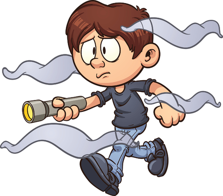 Illustration for Scared cartoon boy with flashlight walking in the fog. Vector clip art illustration with simple gradients. Fog and boy on separate layer. - Royalty Free Image