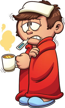 Ilustración de Kid sick with a cold and fever. Vector clip art illustration with simple gradients. Kid and steam on separate layers. - Imagen libre de derechos