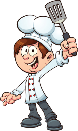 Illustration pour Chef boy holding a spatula. Vector clip art illustration with simple gradients. Boy, spatula and fingers on separate layers. - image libre de droit