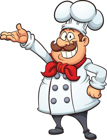Ilustración de Fat cartoon chef. Vector clip art illustration with simple gradients. All in a single layer. - Imagen libre de derechos
