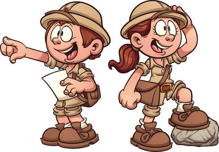Illustration pour Boy and girl in safari outfits. Vector clip art cartoon illustration with simple gradients. - image libre de droit