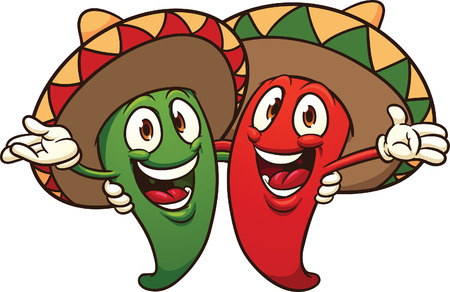 Illustration for Happy cartoon Mexican chili peppers.  Vector clip art illustration with simple gradients. All in a single layer. - Royalty Free Image