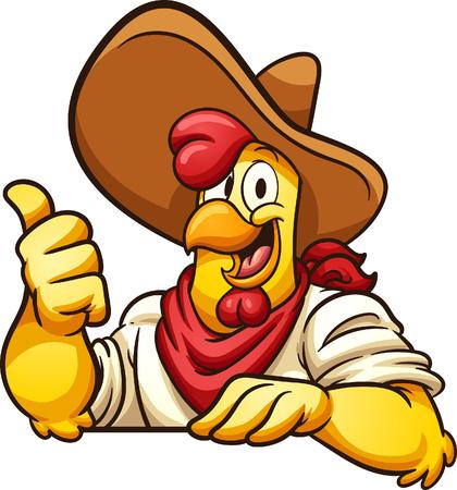 Ilustración de Cartoon farmer chicken with thumb up. Vector clip art illustration with simple gradients. All in a single layer. - Imagen libre de derechos