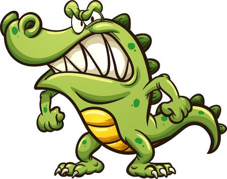 Ilustración de Angry cartoon crocodile. Vector clip art illustration with simple gradients. All in a single layer.   - Imagen libre de derechos