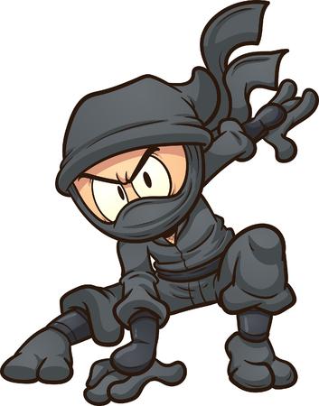 Ilustración de Cartoon ninja doing a three point landing. Vector clip art illustration with simple gradients. All in a single layer. - Imagen libre de derechos