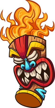 Ilustración de Cartoon tiki mask with fire hair. Vector clip art illustration with simple gradients. All in a single layer. - Imagen libre de derechos