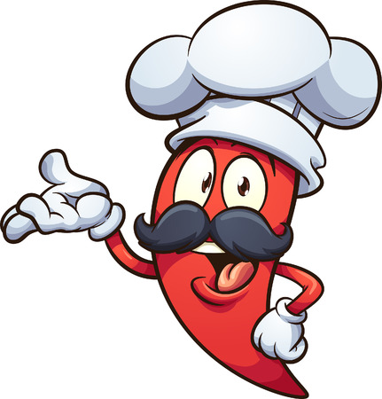 Ilustración de Cartoon red chili pepper with a chef hat clip art. Vector illustration with simple gradients. All in a single layer.   - Imagen libre de derechos