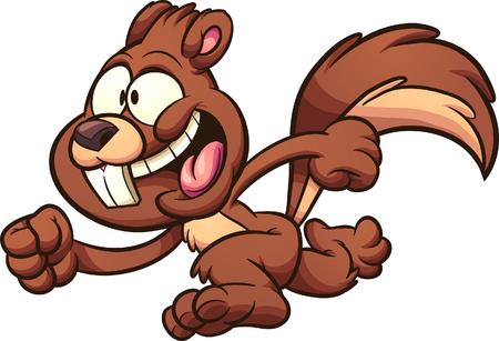 Ilustración de Cartoon happy running squirrel clip art. Illustration with simple gradients. All in a single layer.   - Imagen libre de derechos