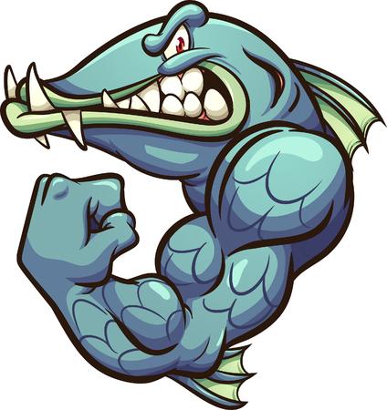Ilustración de Strong angry cartoon barracuda fish mascot clip art. Vector illustration with simple gradients. All in a single layer. - Imagen libre de derechos