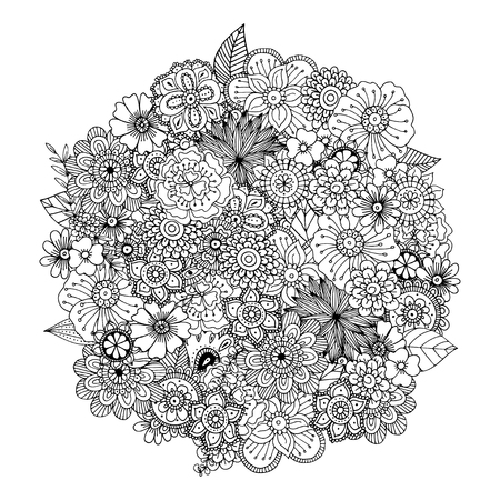Illustration pour Hand drawn zentangle doodle illustration for adult coloring books in vector. Unique lacy floral doodles for your design. - image libre de droit
